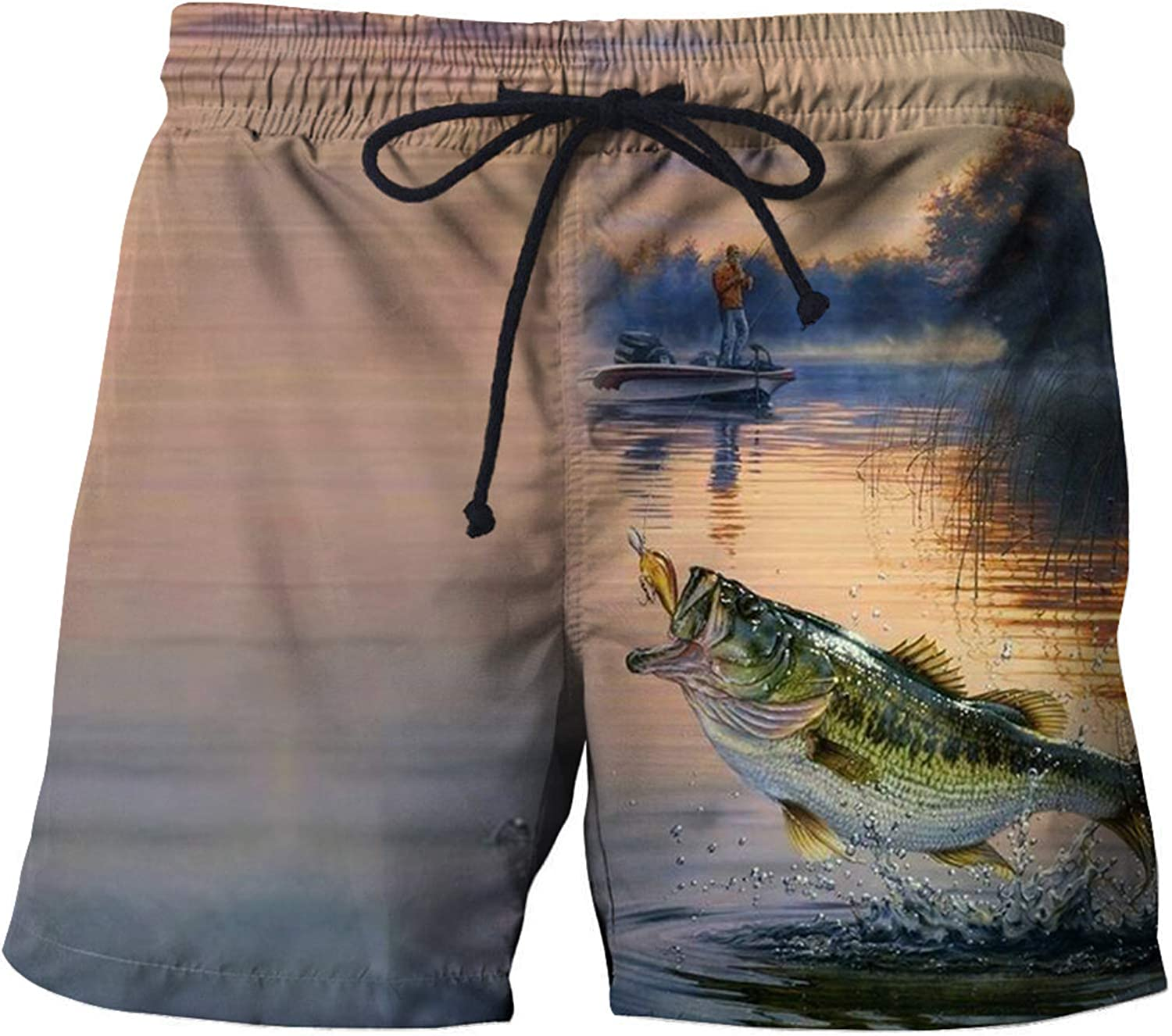 URVIP Mens Swim Trunks Quick Dry 3D Printed Beach Shorts with Mesh Lining