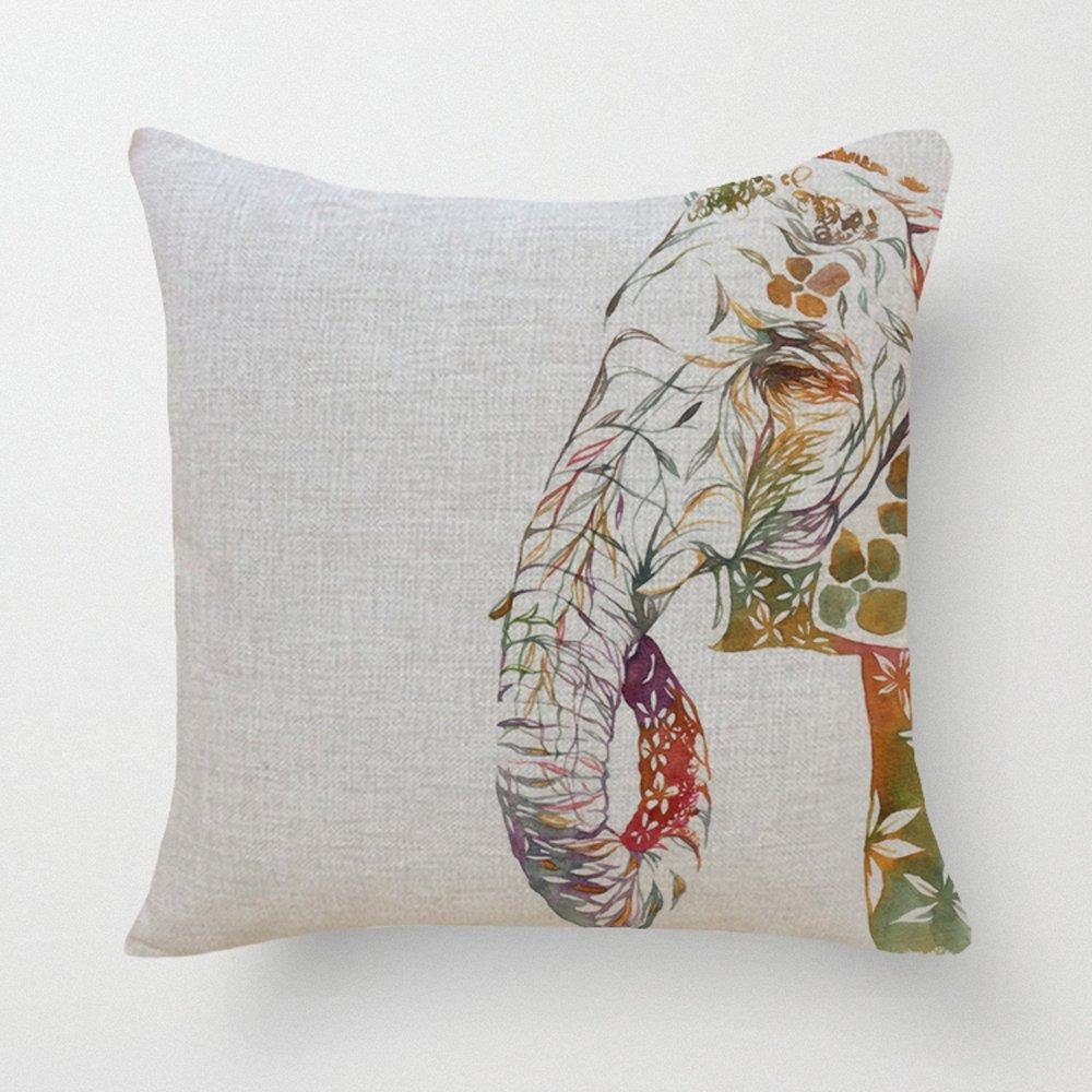Elephant Throw Pillow Case : SLS Cotton Linen Decorative Throw Pillow Case Cushion Cover Elephant Trunk 18
