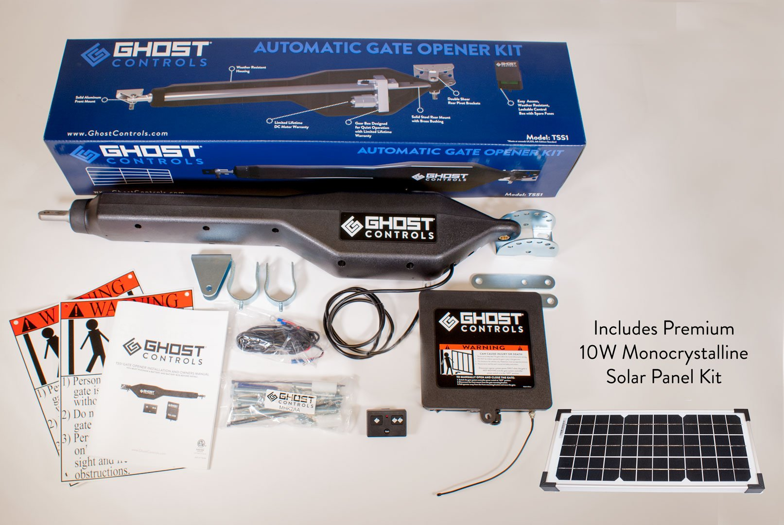 Ghost Controls TSS1XP Heavy-Duty Solar Single Automatic Gate Opener Kit for Swing Gates Up to 20 Feet (ft.) by GHOST CONTROLS