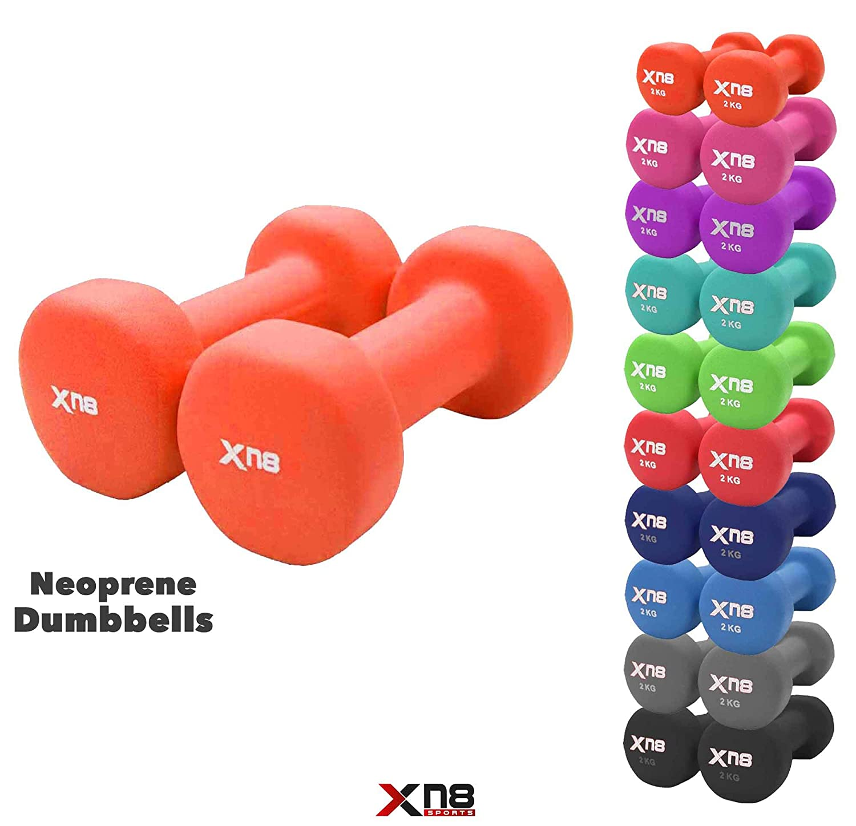 Xn8 Sports - Juego de mancuernas de neopreno (1 kg, 2 kg, 3 kg, 4 kg, 5 kg, 6 kg, 8 kg, 10 kg, 2 kg, 2 kg, 2 kg, 2 kg, ...