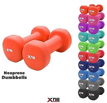 Xn8 Sports - Juego de mancuernas de neopreno (1 kg, 2 kg, 3 kg, 4 kg, ...