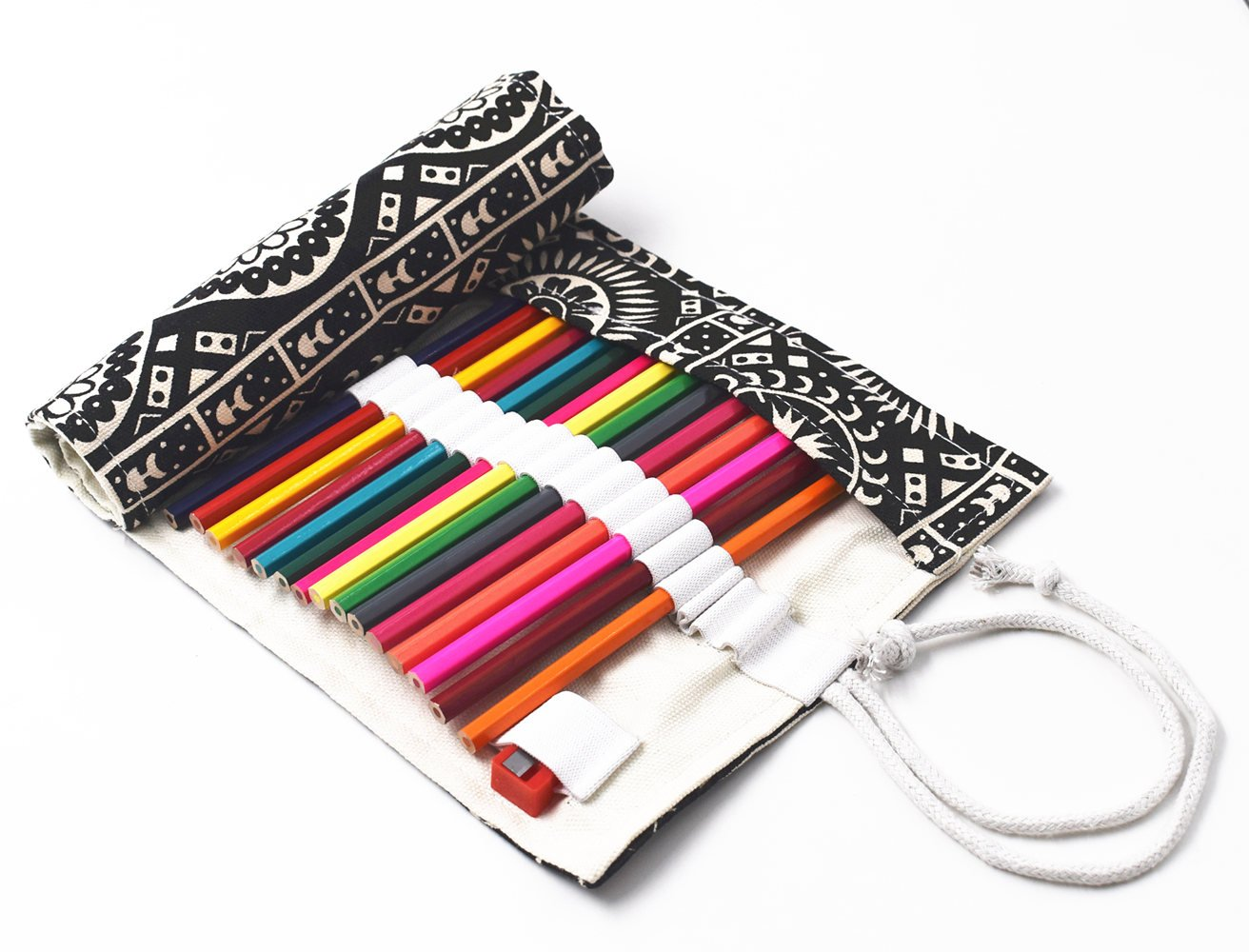 RayLineDo 36 Holes Canvas Pencil Wrap Roll Up Pencil Case Pen Holder Bag Storage Pouch Black Bohemia Style