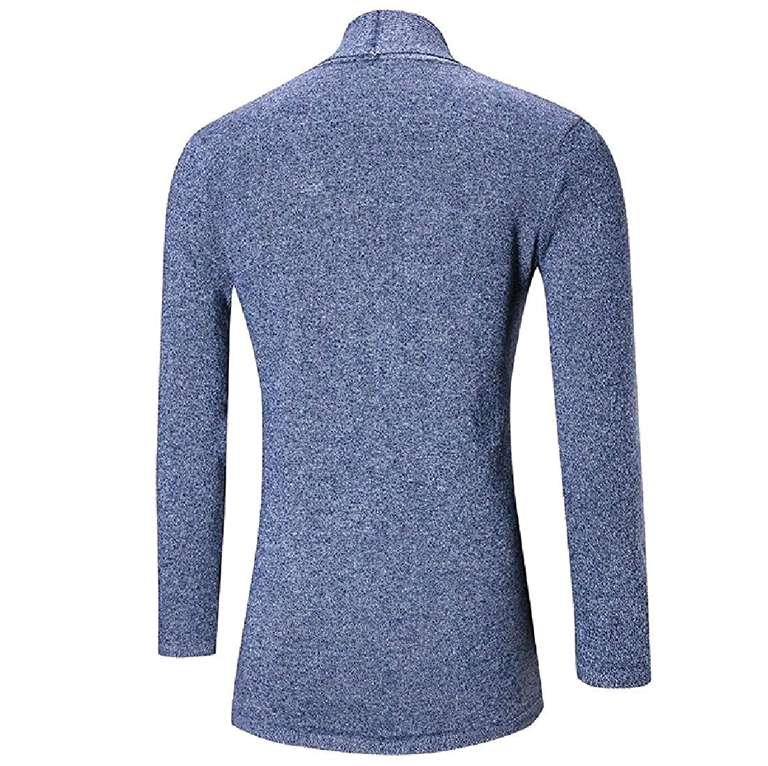 YUNY Mens Business Leisure Plus Size Mid-Long Pullover Sweater Blue M