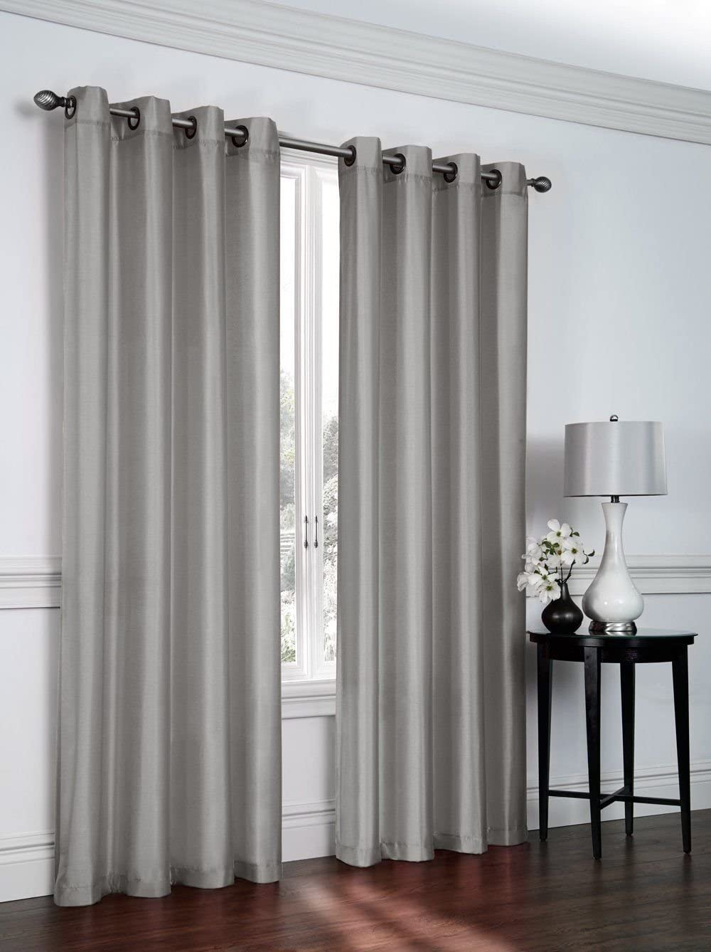 """Empire Furniture USA Jenner Solid Faux Silk Grommet Window Curtain Panel New ARIVAL Sale (63"""" Short, Slick Silver)"""