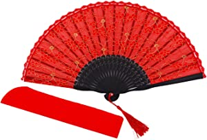 meifan Womens Multi Color Handmade Cotton Lace Folding Hand Fan (Red)