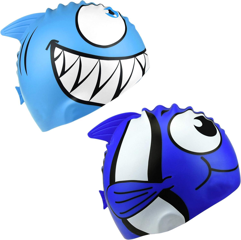 HOGAR AMO 2er Niños Silicona Gorra de Natación para Niños Niñas Nadando Principiante Dibujos Animados de Animales Patrón de Tiburón Sombreros de Natación Talla única