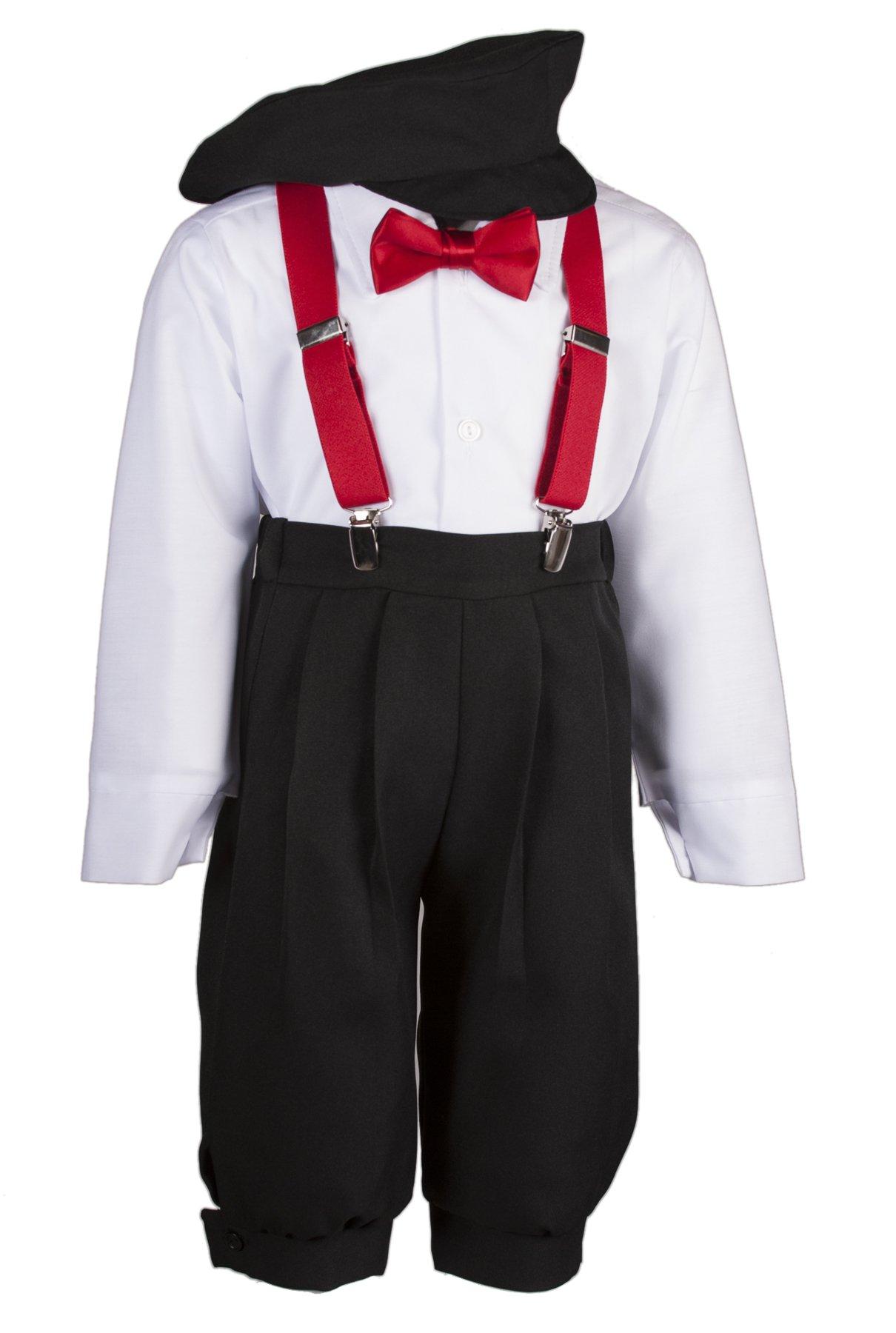 Boys Black Knickers Set Pageboy Cap Red Suspenders & Bow Tie (4 Boys)