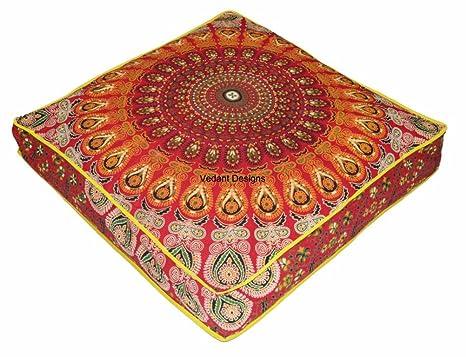 Amazon.com: Cojín de meditación de tapiz bohemio indio ...