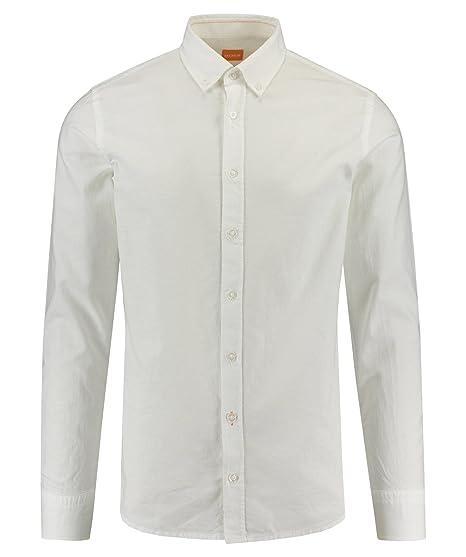 Hugo Boss Men's Hugo Boss Orange Men's Slim Fit White Epreppy Long Sleeve  Shirt XXL