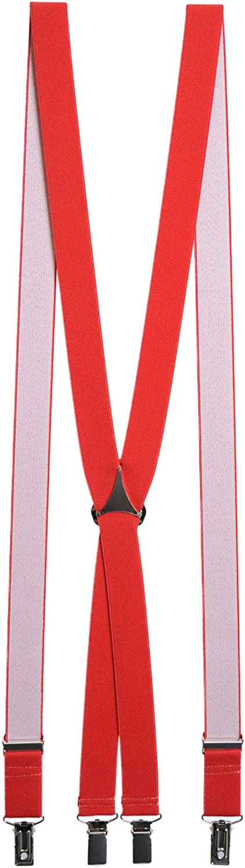 Red Narrow 25mm Narrow Trouser Braces Mens Suspenders
