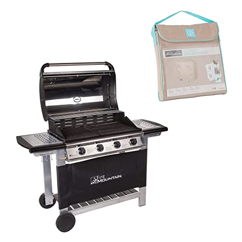 Fire Mountain Everest 4 Burner Gas Barbecue now with BBQ Cover & Free Propane Regulator & Hose - Stainless Steel, Cast Iron Burners, Grill & Griddle