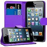 Funda de piel GAPlus con tarjetero para Apple iPhone + Protector de pantalla con gamuza limpiadora y lápiz, Purple Wallet, iphone 5/5s