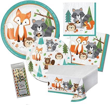 set of 16 woodland first birthday Wild one woodland napkins woodland birthday woodland party decorations first birthday napkins