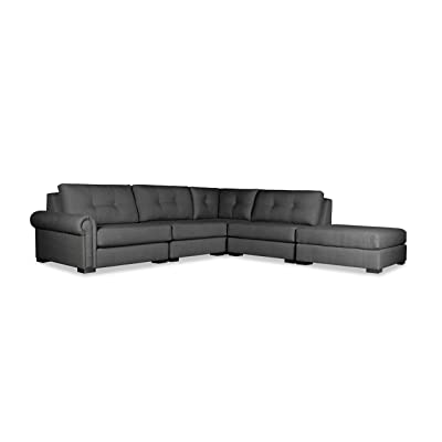 South Cone Home Chelsea Buttoned Modular Sectional Left Arm L-Shape Right Ottoman, Charcoal