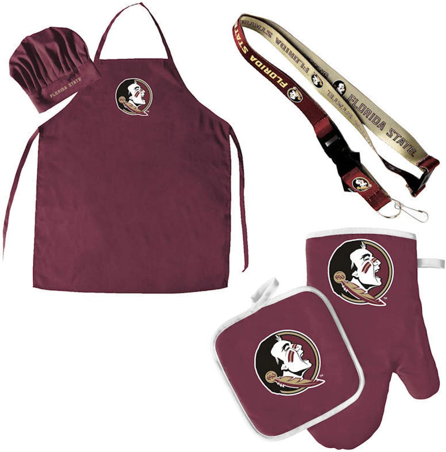 Pro Specialties Group Florida State Seminoles Chef hat Apron and Oven mitt Pot Holder BBQ Tailgate Set Lanyard