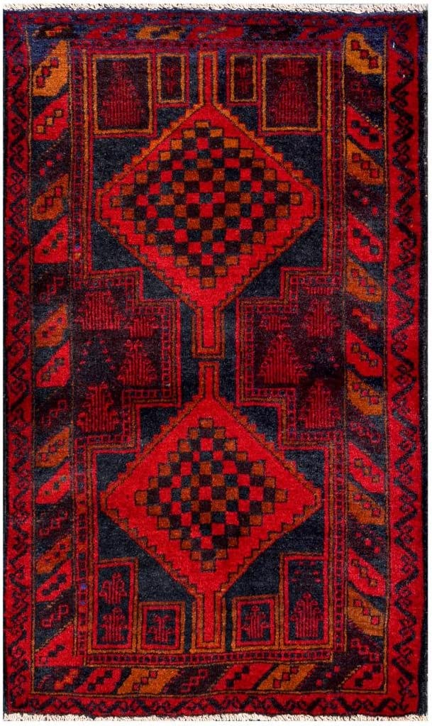 Herat Oriental Afghan Hand Knotted Tribal Balouchi Red Navy Wool Rug 2 8 X 4 3 Furniture Decor Amazon Com