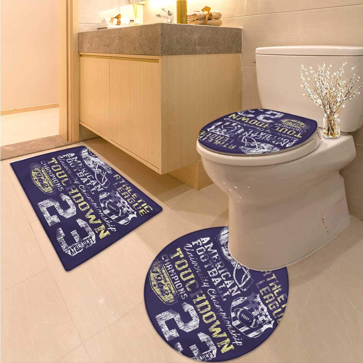 Anhuthree Sports bathmat Toilet mat Set Retro Style American Football College Theme Illustration Athletic Championship Apparel 3 Piece Shower Mat Set Purple