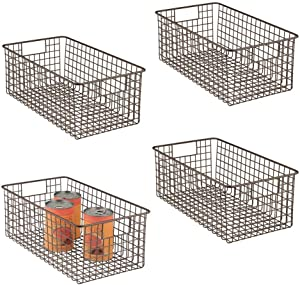 mDesign Farmhouse Decor Metal Wire Food Organizer Storage Bin Basket with Handles for Kitchen Cabinets, Pantry, Bathroom, Laundry Room, Closets, Garage - 4 Pack - Bronze