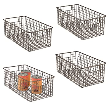 mDesign Farmhouse Decor Metal Wire Food Organizer Storage Bin Basket with Handles for Kitchen Cabinets, Pantry, Bathroom, Laundry Room, Closets, Garage - 16 x 9 x 6 in. - 4 Pack - Bronze