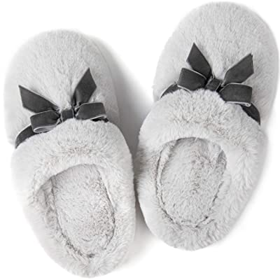 ULTRAIDEAS Women's Plush Fur Slippers with Memory Foam and Elegant Bow, Ladies' Fuzzy Slip on House Shoes with Indoor Anti-Skid Soft Rubber Sole   Slippers