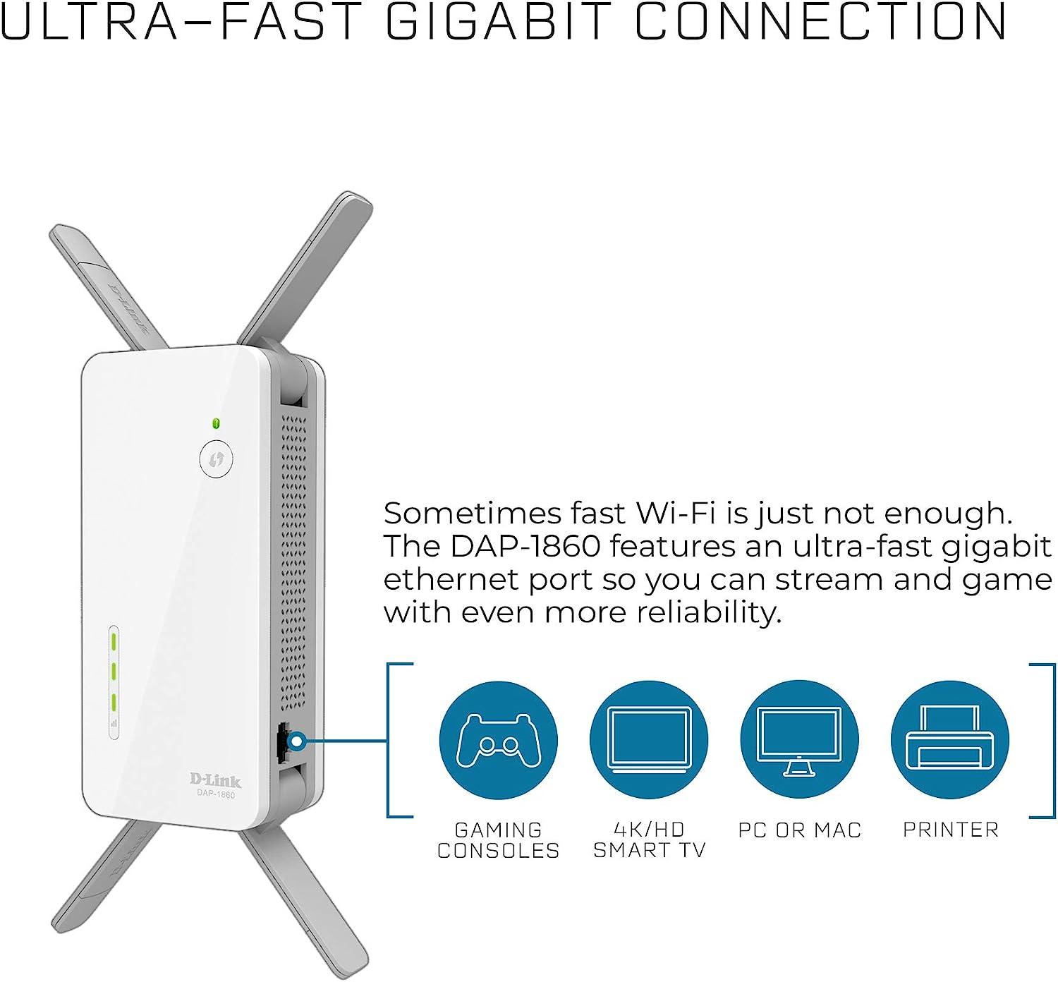 AC SmartBeam DAP-1860 SmartConnect D-Link AC2600 Wi-Fi Range Extender MU-MIMO Technology