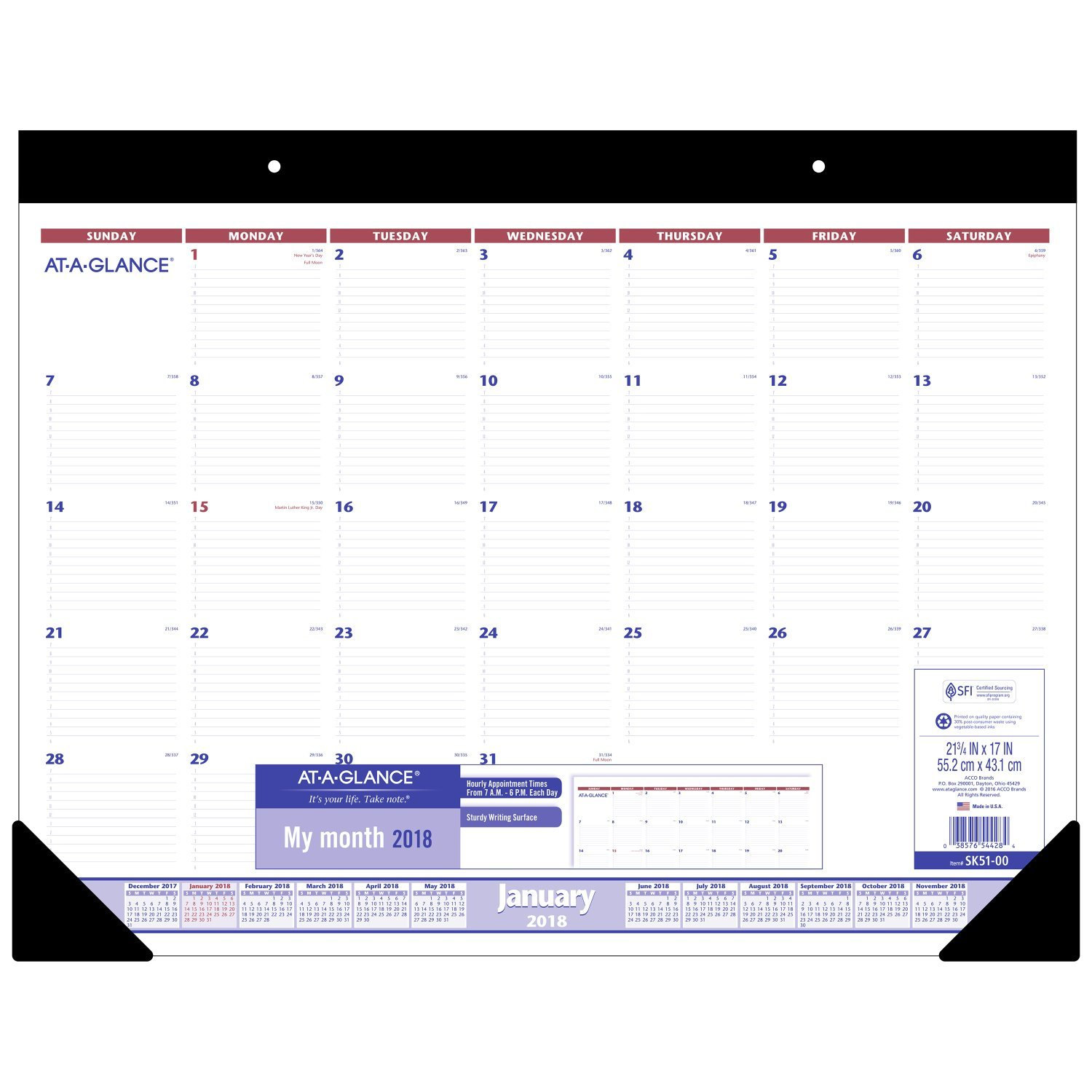 AT-A-GLANCE Monthly Desk Pad Calendar with Appointments, January 2018 - December 2018, 22'' x 17'' (SK5100)