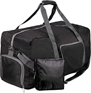 """REDCAMP 75L Foldable Travel Duffle Bag Large Size, 27"""" Lightweight Duffel Bag with Shoulder Strap for Airplanes Gym Sports, Black"""