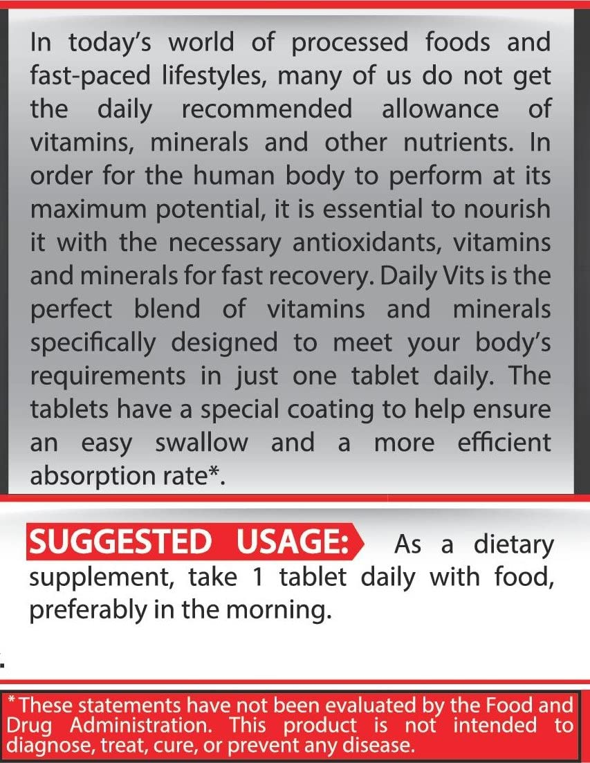 Pure Nutrition Daily Vits|Everyday A-Z Multivitamin Mineral Complex Men Women|14 Vitamins 12 Minerals Sport Supplement|Digestive Enzyme Blend|1 Tab Daily|100 and 200 Tablets|100 or 200 Days Supply