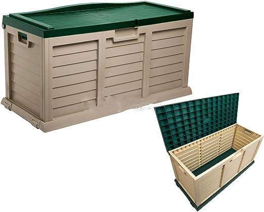 Jardín al aire libre de almacenamiento Caja de baúl de plástico cojín 390L verde Tractor tapa: Amazon.es: Jardín