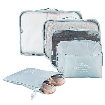 7d584e48e Scheam 6 Organizador de Equipaje para Viajes Impermeable Organizador  Organizador Bolsa Viajes para Ropa, Material Nylon, Azul Claro: Amazon.es:  Equipaje