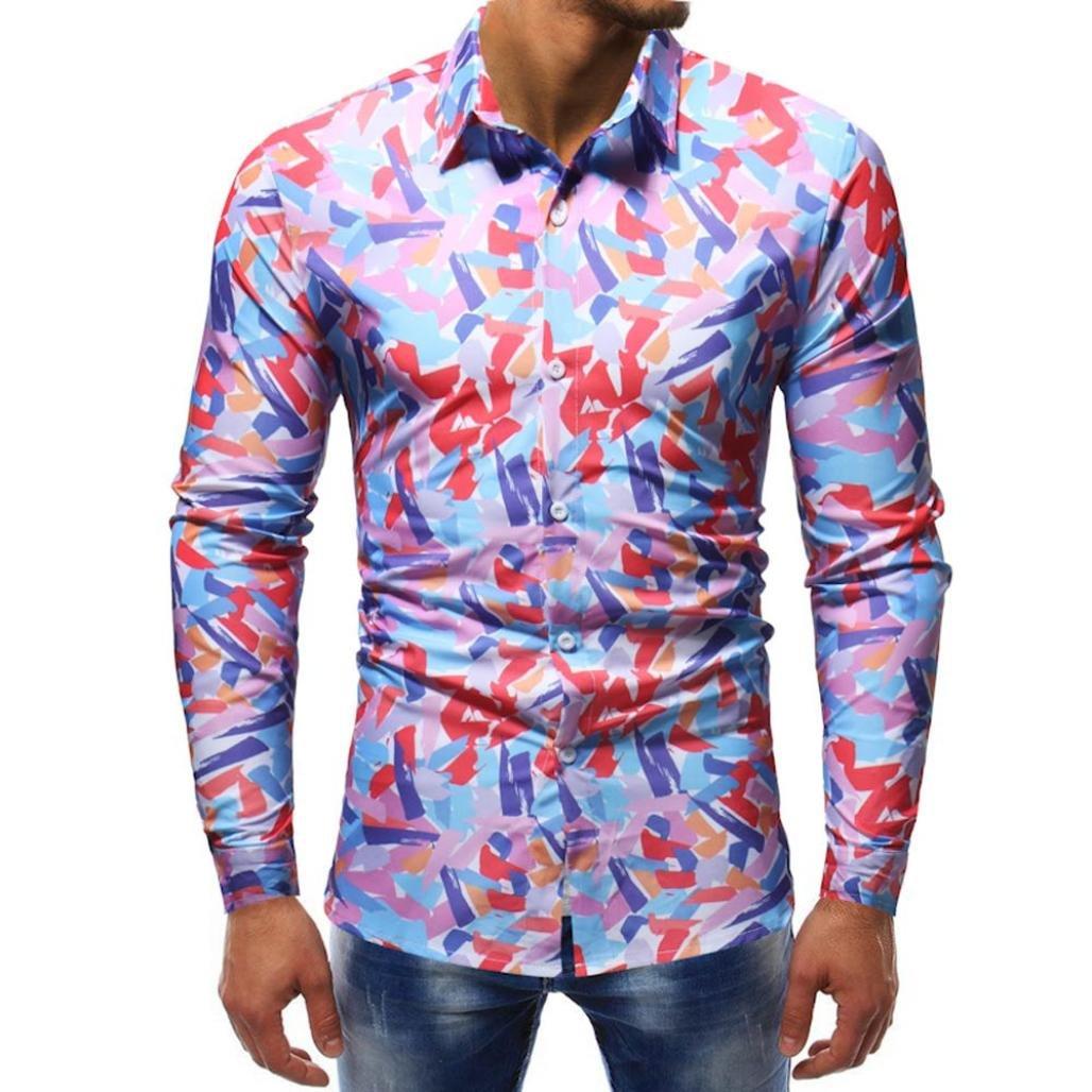 Ximandi Autumn Shirts Men's Feature Print Casual Slim Long Sleeve Shirt Top Blouse