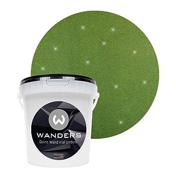 Wanders24 Glimmer Optik (1 Liter, Gold Grün) Glitzer Wandfarbe In