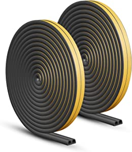 Door Weather Stripping, Keliiyo Window Seal Strip for Doors and Windows - Self-adhisive Foam Weather Strip Door Seal | Soundproof Seal Strip Insulation Gap Blocker Epdm D Type 66ft(20m) 2 Pack (Black)
