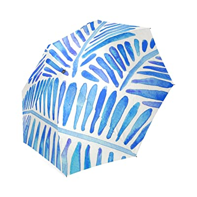 Personalized Tropical Banana Leaves Blue Palette Foldable Umbrella Travel Umbrella 70%OFF