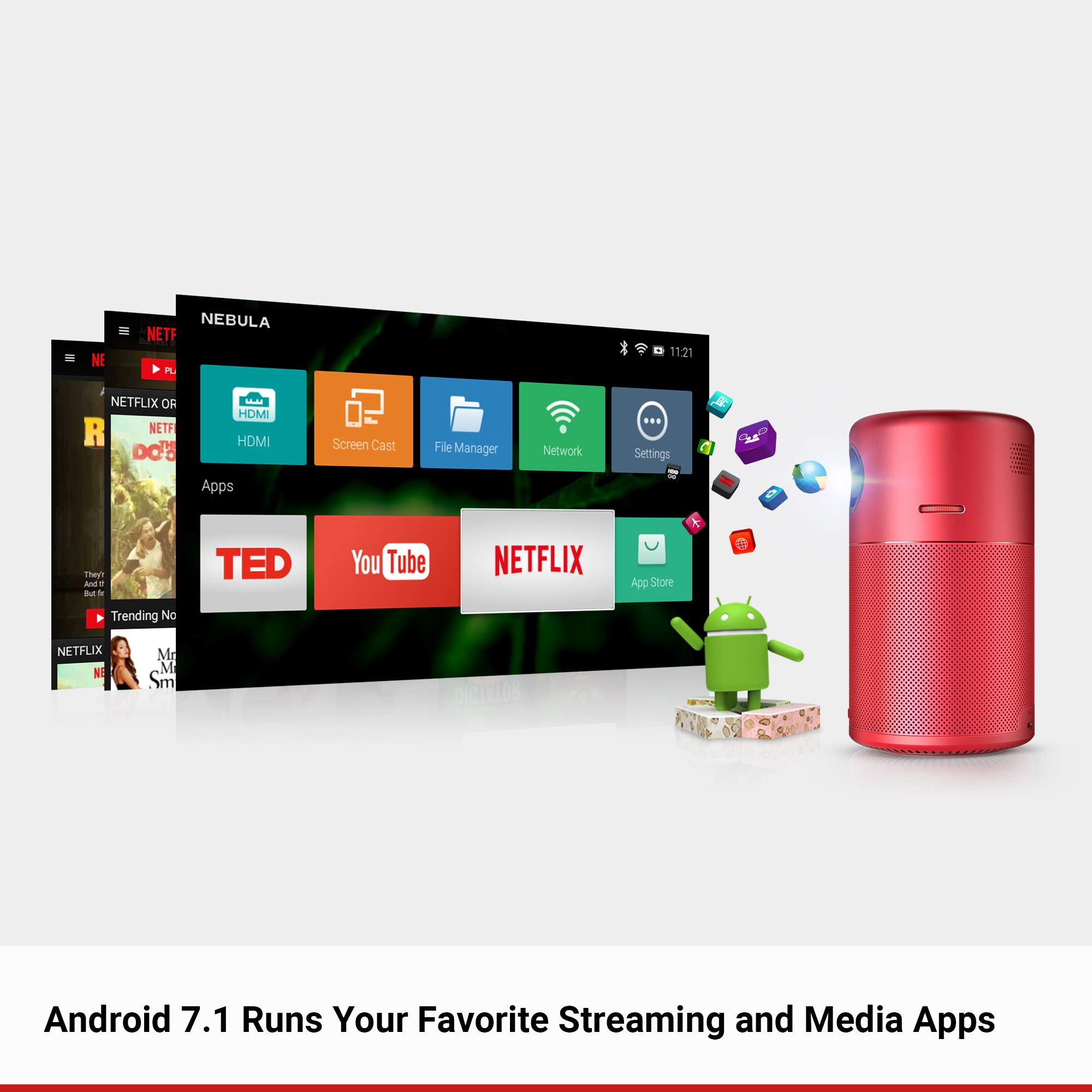 Nebula Capsule Smart Mini Projector, by Anker, Portable 100 ANSI lm High-Contrast Pocket Cinema with Wi-Fi, DLP, 360° Speaker, 100'' Picture, Android 7.1, 4-Hour Video Playtime, and App-Red by Anker (Image #4)