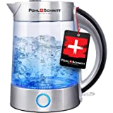 Pohl Schmitt 1.7L Electric Kettle with Upgraded Stainless Steel Filter, Inner Lid & Bottom, Glass Water Boiler & Tea Heater w