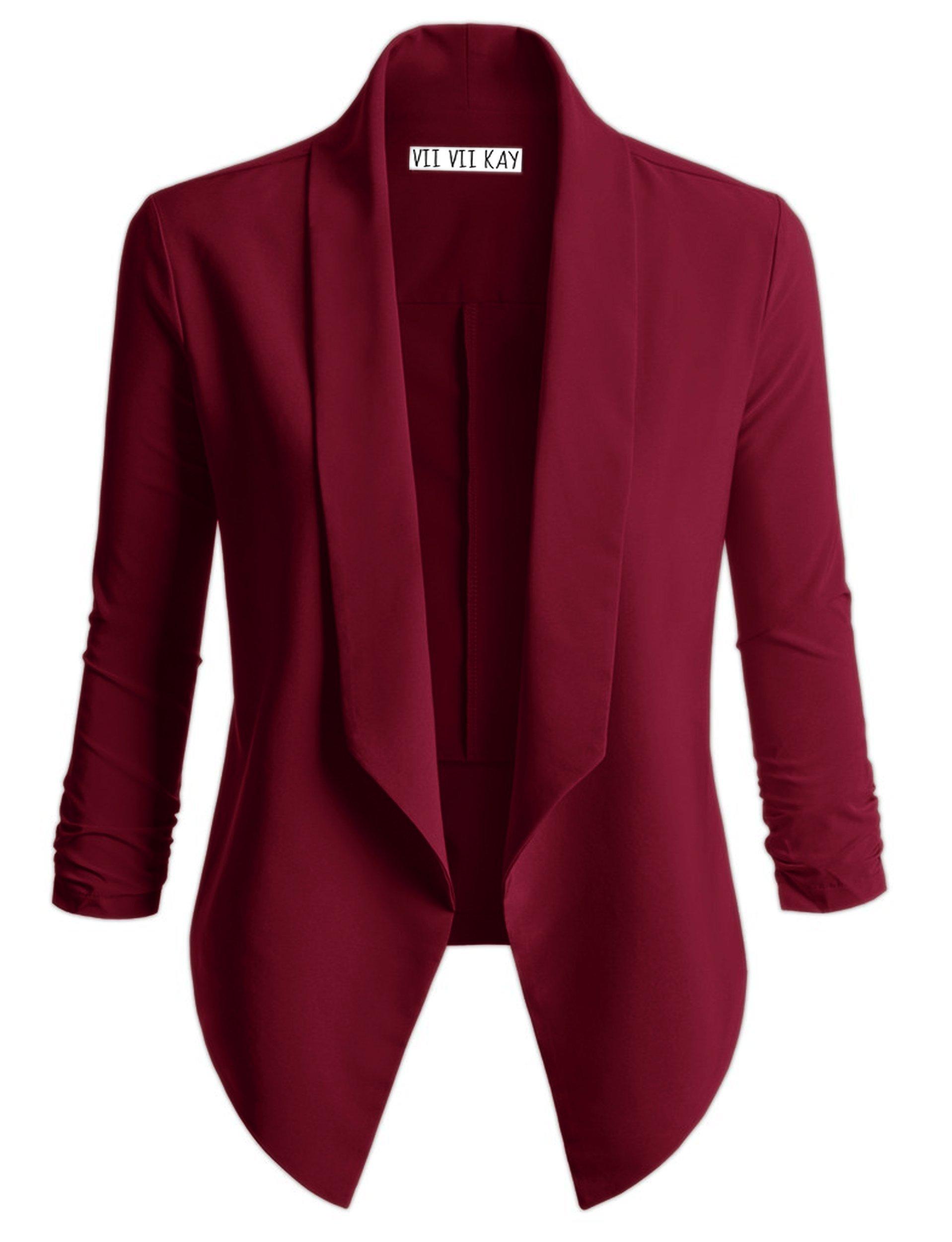 ViiViiKay Women's Versatile Business Attire Blazers In Multiple Styles 37_Burgundy XL