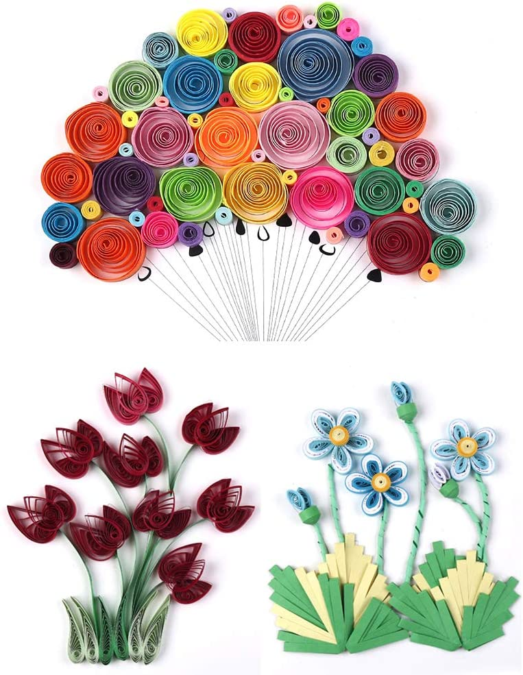 Hrroes 9 Pcs Paper Quilling Kits 36 Colors 180 Strips Quilling Paper Quilling Tools Art Paper for Arts Crafts DIY 5mm
