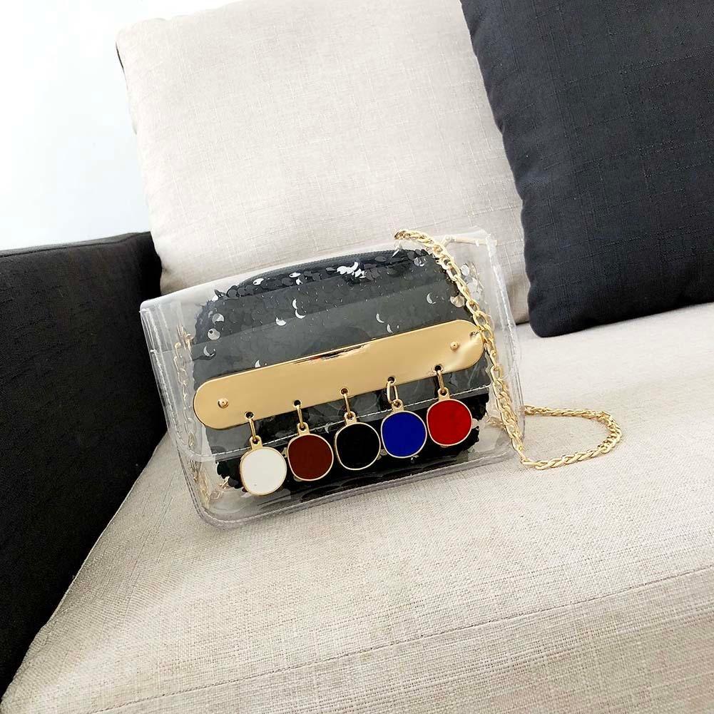 Diamondo Glitter Sequin Women Party Shoulder Bag Tassel Clear PVC Flap Messenger Bag