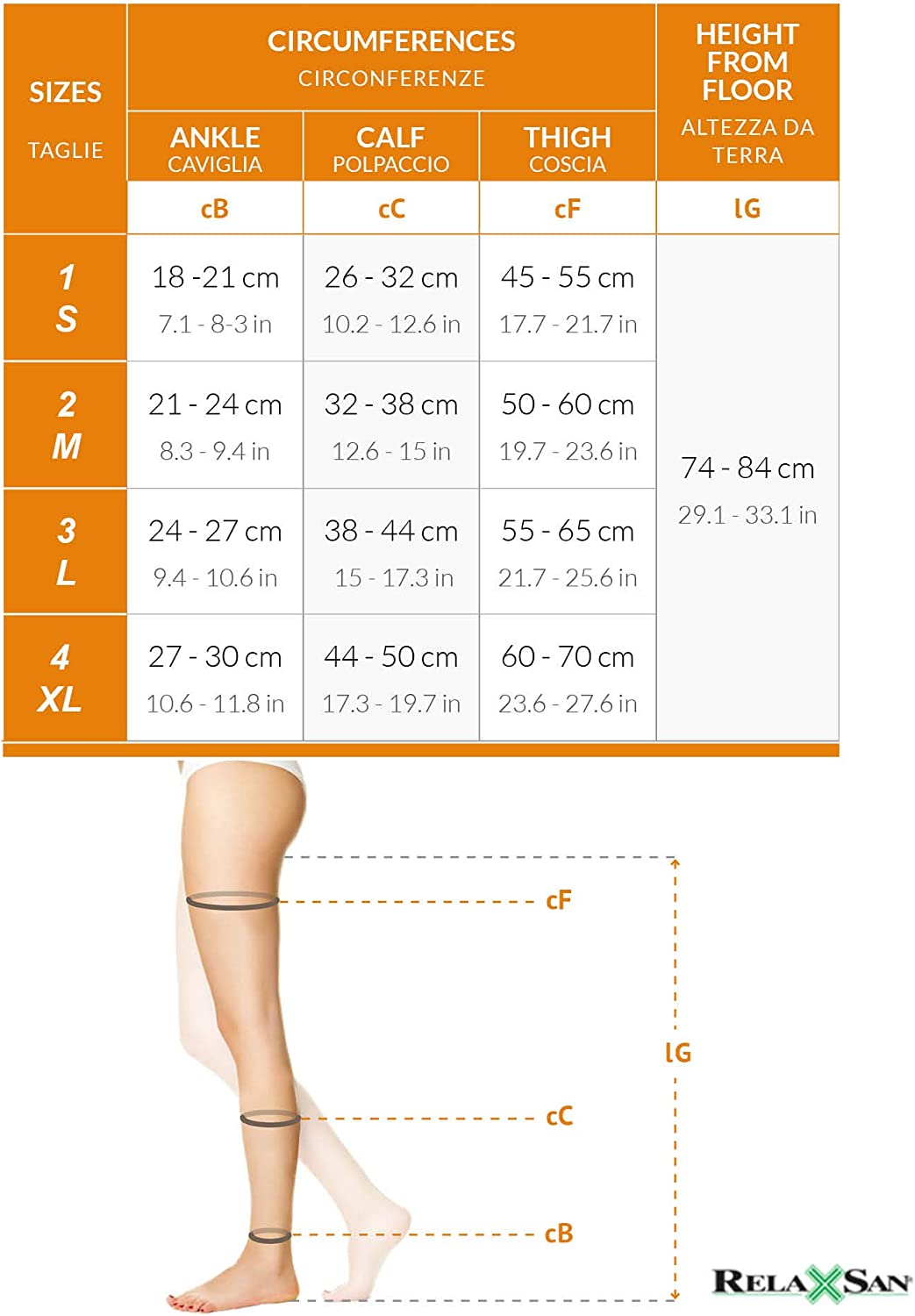 RelaxSan Antiembolism M1370A Open-toe anti-embolism hold up stockings K2-25-32 mmHg