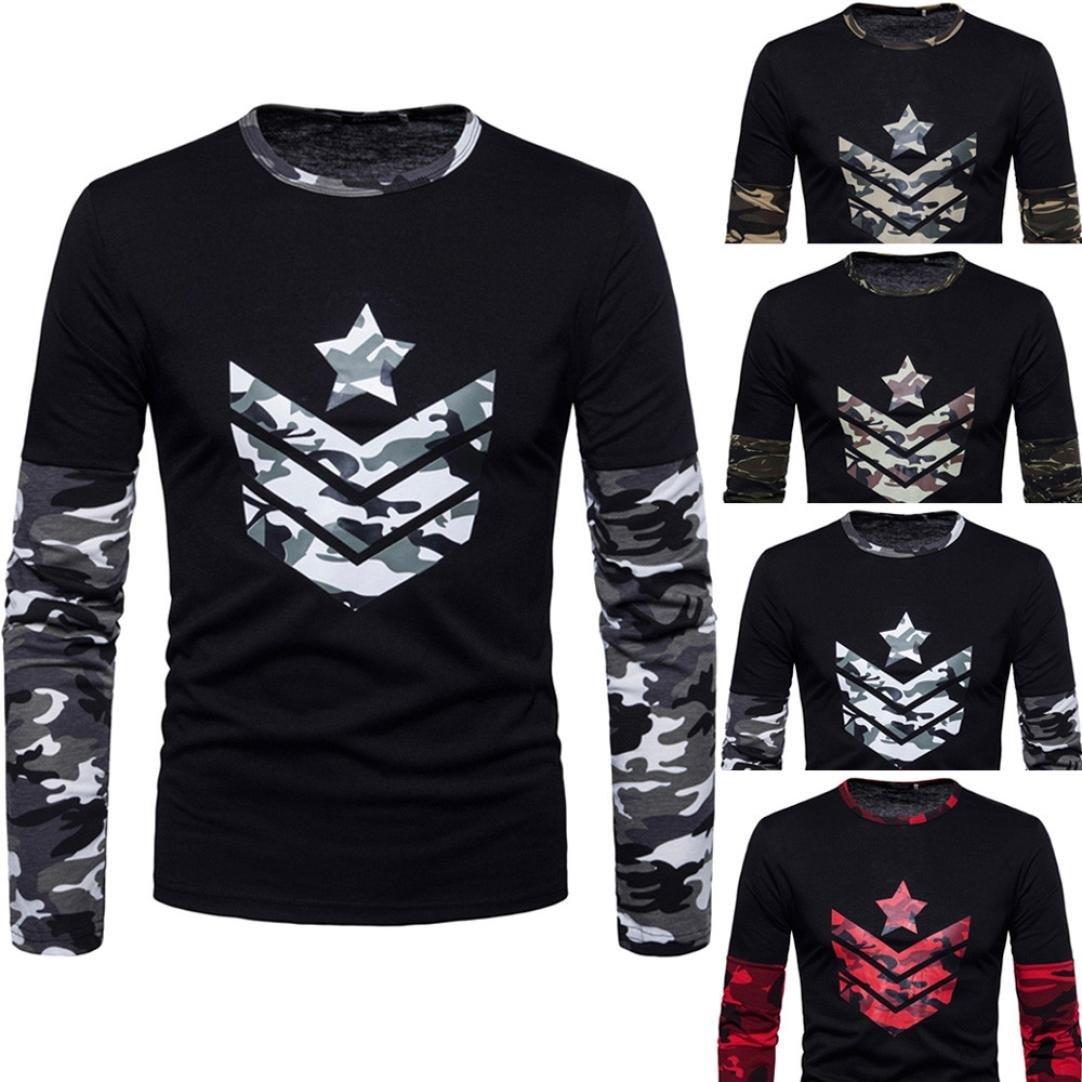 ♚Btruely Herren Camisetade Hombres de Cuello Redondo Sudaderas del Camuflaje impresión Conjunta Blusa de otoño de los Hombres Top Blusa Suave Pullover: ...