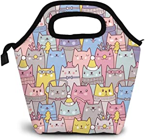 Cute Cats Insulated Lunch Portable Carry Tote Picnic Storage Bag Colorful Cartoon Animal Lunch Box Food Bag Gourmet Handbag Cooler Warm Pouch Tote Bag For Work Office