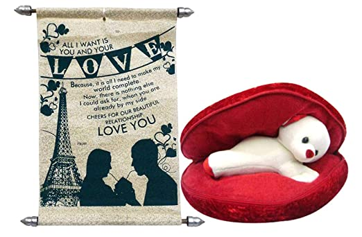 Saugat Traders Best Gift for Girlfriend - Red Heart Shape Pillow, Teddy Inside and Love Scroll Card