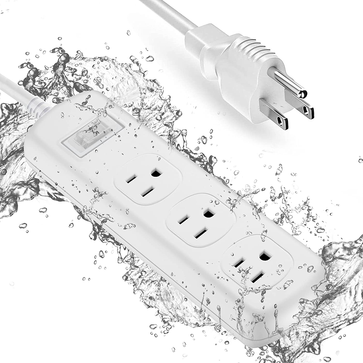 Power Strip Surge Protector Waterproof, with 6 ft Long Extension Cord and 3 Outlets, IPX6 Waterproof and Electric Shockproof Socket for Baby Room, Bathroom, Kitchen, Garden, Yard Lighting