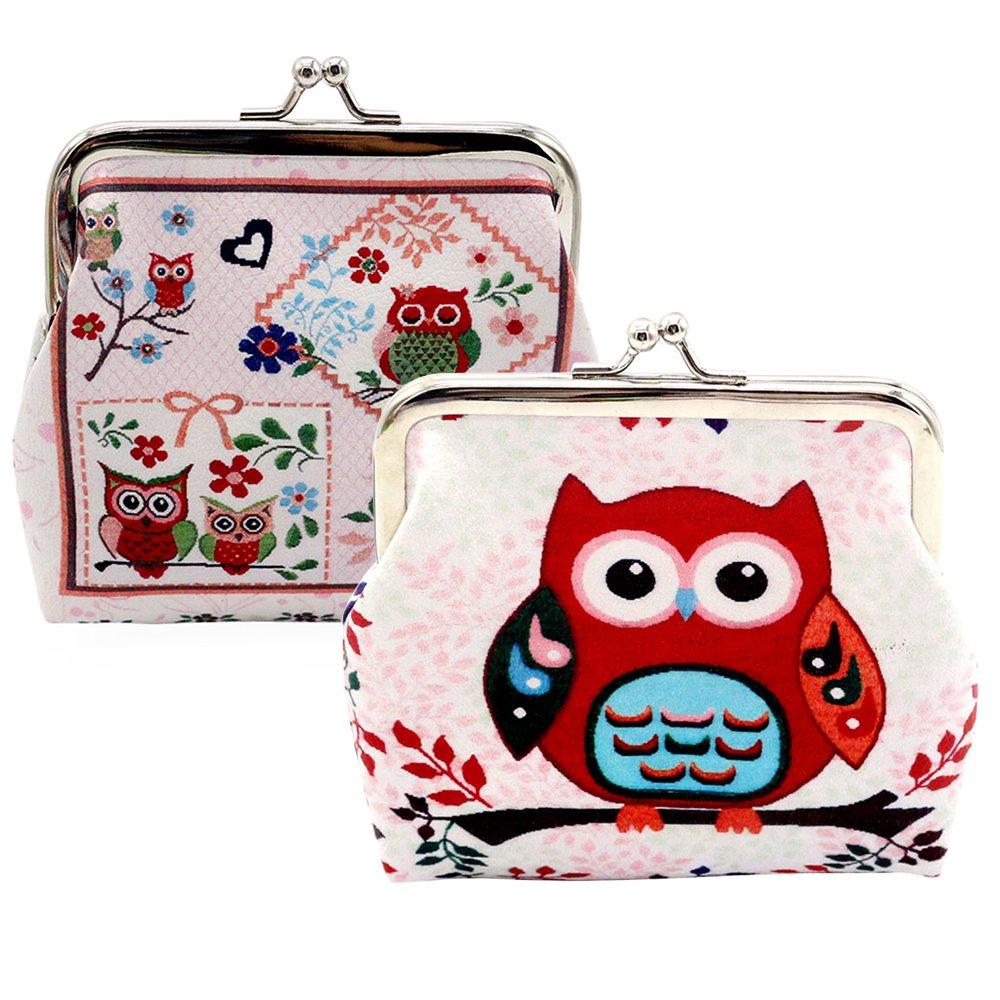 Oyachic 2 Packs Poche Coin Hibou Mignon Motif Fermoir Clutch Embrayage Sac Cadeau (2 packs 1 + 2 hibou)