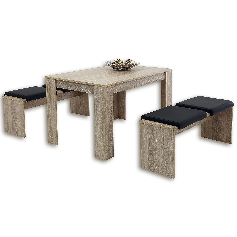 3-Teilige Tischgruppe Lille - Sonoma Eiche: Amazon.de: Küche & Haushalt