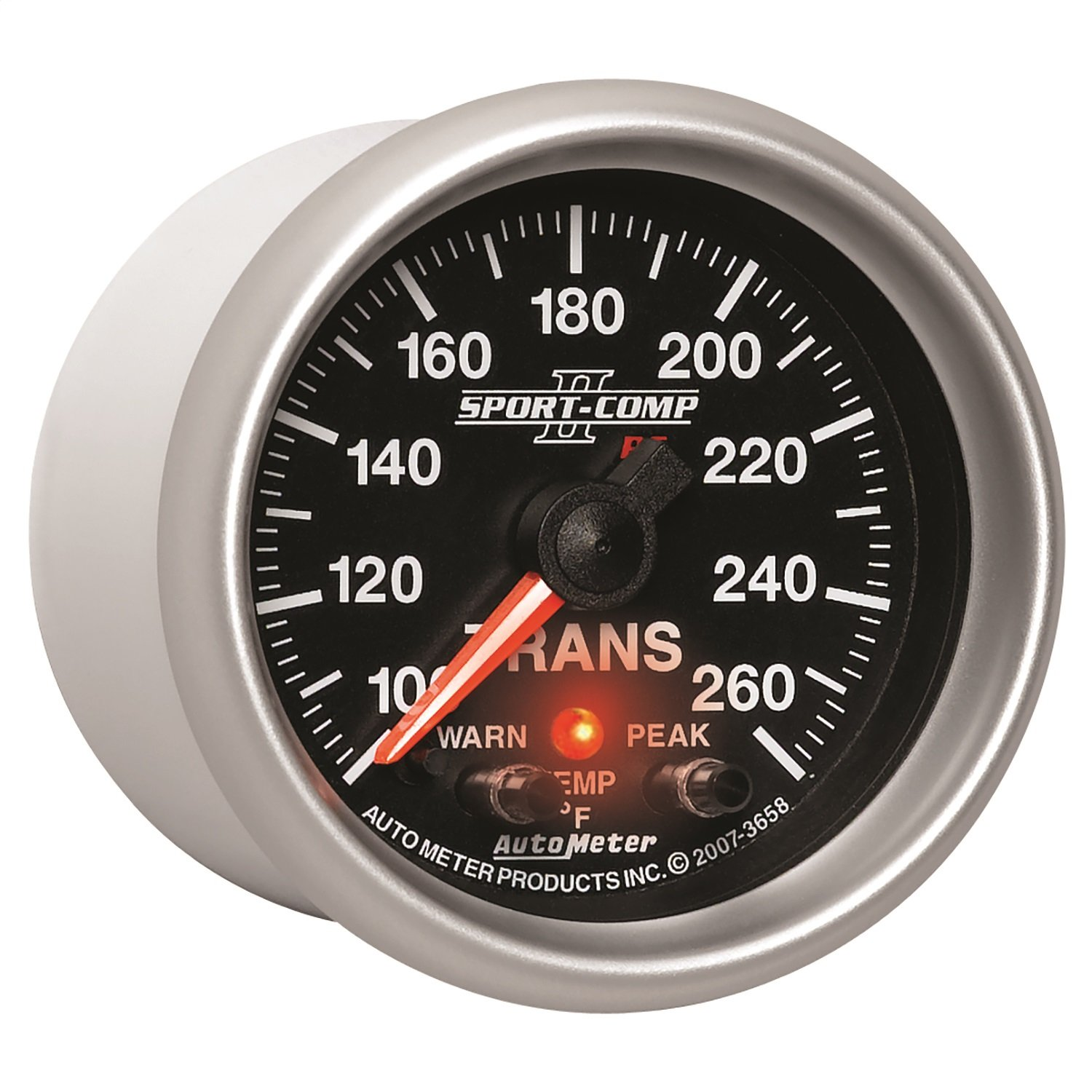 Auto Meter 3658 2-1/16'' 100- 260 F Full Sweep Electric Transmission Temperature Gauge by Auto Meter