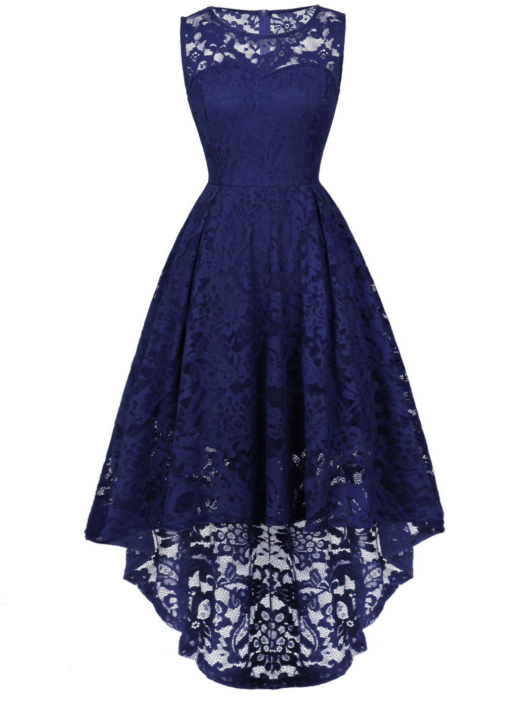 FAIRY COUPLE Woman's Hi-Low Sleeveless Vintage Wedding Party Cocktail Dress DL022(M,Navy Blue)