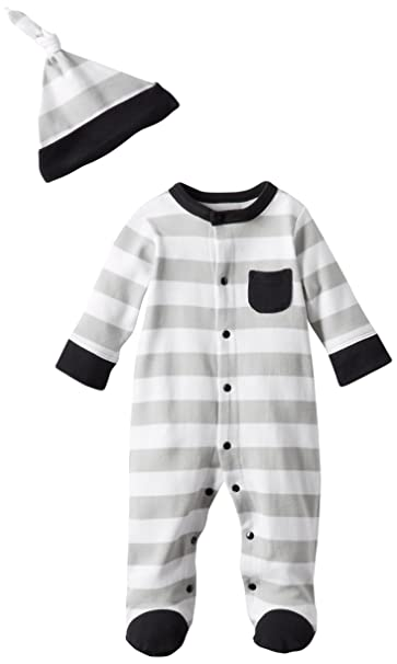 OffSpring - Baby Apparel Boys Newborn Stripe Footie and Hat