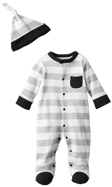 OffSpring - Baby Apparel Boys Newborn Stripe Footie and Hat